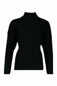 Womens Oversized Wide Rib Knit Jumper - black - L, Black