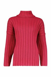 Womens Oversized Wide Rib Knit Jumper - pink - M, Pink
