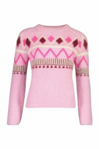Womens Fluffy Christmas Knit Jumper - Pink - M, Pink