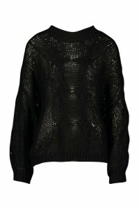 Womens Mohair Look Oversized Jumper - black - M/L, Black