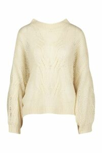 Womens Mohair Look Oversized Jumper - white - M/L, White