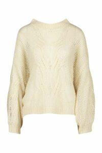 Womens Mohair Look Oversized Jumper - white - M/L, White