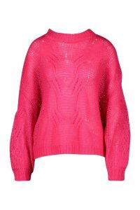 Womens Mohair Look Oversized Jumper - pink - M/L, Pink