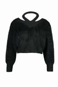 Womens Cut Out Shoulder Fluffy Knit Jumper - black - L, Black