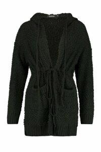 Womens Popcorn Knit Hooded Cardigan - black - S, Black