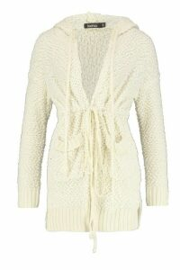 Womens Popcorn Knit Hooded Cardigan - white - M, White