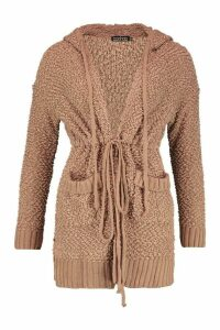 Womens Popcorn Knit Hooded Cardigan - beige - S, Beige