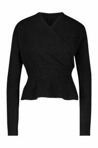 Womens Off Shoulder Fluffy Knit Top - black - M/L, Black