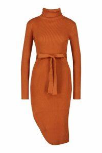 Womens Roll Neck Knitted Slit Side Midi Dress - orange - M, Orange