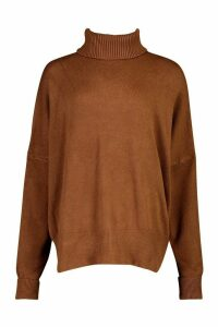 Womens Oversized Balloon Sleeve roll/polo neck Knitted Jumper - brown - S/M, Brown