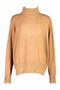 Womens Oversized Balloon Sleeve roll/polo neck Knitted Jumper - beige - M/L, Beige