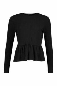 Womens Petite Soft Rib Ruffle Hem Smock Top - black - 10, Black