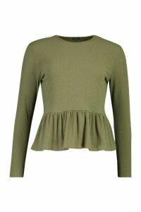Womens Petite Soft Rib Ruffle Hem Smock Top - green - 8, Green