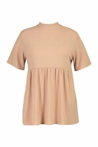 Womens Plus High Neck Rib Knitted Smock Top - beige - 16, Beige