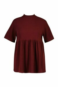 Womens Plus High Neck Rib Knitted Smock Top - red - 20, Red
