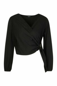 Womens Petite Wrap Front Buckle Detail Blouse - black - 10, Black