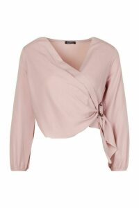Womens Petite Wrap Front Buckle Detail Blouse - pink - 14, Pink