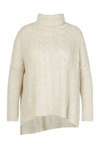 Womens Plus Cable Roll Neck Oversized Jumper - beige - 20-22, Beige