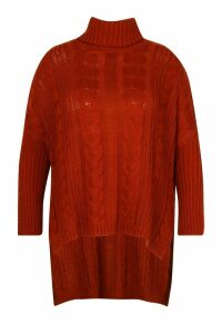 Womens Plus Cable Roll Neck Oversized Jumper - orange - 20-22, Orange