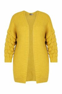 Womens Plus Premium Bobble Knitted Jumper - yellow - 20-22, Yellow