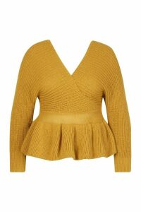 Womens Plus Knitted Wrap Peplum Jumper - yellow - 20, Yellow