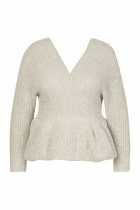 Womens Plus Knitted Wrap Peplum Jumper - Beige - 18, Beige