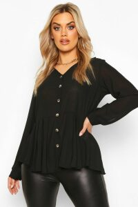 Womens Plus Pleated Button Detail Peplum Shirt - black - 20, Black