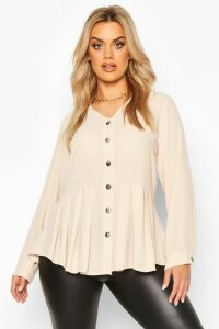 Womens Plus Pleated Button Detail Peplum Shirt - beige - 24, Beige