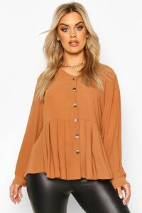 Womens Plus Pleated Button Detail Peplum Shirt - Brown - 24, Brown