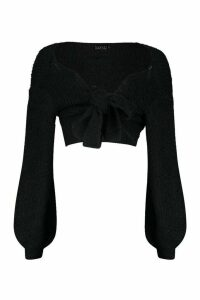 Womens Petite Off Shoulder Fluffy Knit Tie Front Jumper - black - 4, Black