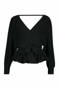 Womens Petite Wrap Tie Waist Peplum Knitted Jumper - black - 12, Black