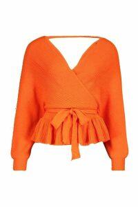 Womens Petite Wrap Tie Waist Peplum Knitted Jumper - orange - 12, Orange
