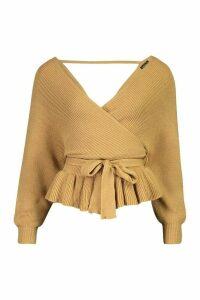 Womens Petite Wrap Tie Waist Peplum Knitted Jumper - Beige - 4, Beige