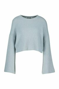 Womens Petite Flare Sleeve Cropped Rib Knit Jumper - duck egg - 12, Duck Egg