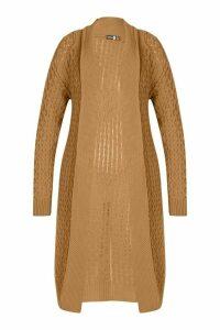 Womens Plus Chunky Honeycomb Waterfall Cardigan - beige - 18, Beige