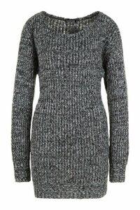 Womens Tall Marl Knit Jumper Dress - black - M, Black