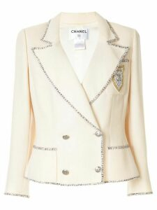 Chanel Pre-Owned logo double-breasted blazer - PINK