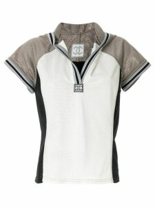 Chanel Pre-Owned hooded short-sleeved mesh T-shirt - Grey