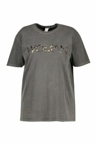 Womens Plus Washed Effect Leopard Woman T-shirt - grey - 20, Grey