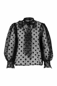 Womens Plus Polka Dot Organza Pussybow Blouse - black - 18, Black