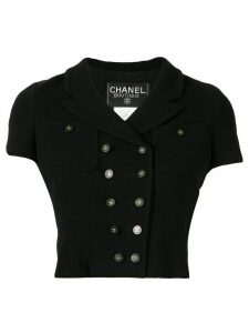 Chanel Pre-Owned double breasted cropped jacket - Black