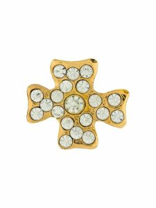 Christian Lacroix Pre-Owned 1990s curvy cross brooch - GOLD