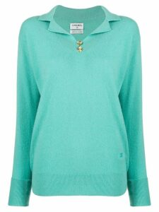 Chanel Pre-Owned cashmere 1980s buttoned neck jumper - Blue