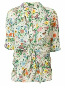 Gucci Pre-Owned silk front tie floral blouse - Multicolour