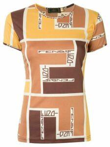 Fendi Pre-Owned geometric logo print T-shirt - Brown
