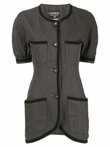Chanel Pre-Owned linen slim-fit buttoned blouse - Black