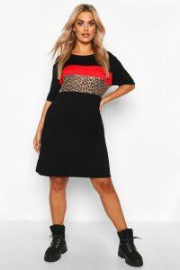 Womens Plus Leopard Contrast Panel T-Shirt Dress - Black - 26, Black