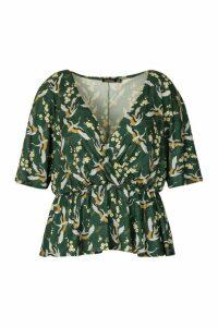 Womens Plus Oriental Floral Print Wrap Peplum Top - Green - 28, Green