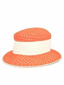 Hermès Pre-Owned gingham print bucket hat - ORANGE
