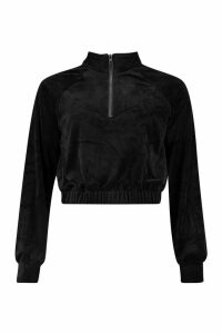 Womens Premium Velour Cropped Zip jumper - black - M, Black
